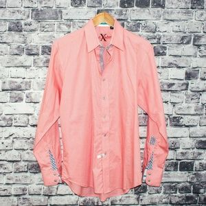 Robert Graham X Men's Button Front Shirt Salmon